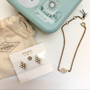 Fossil Set 🤍 Bracelet & Earrings